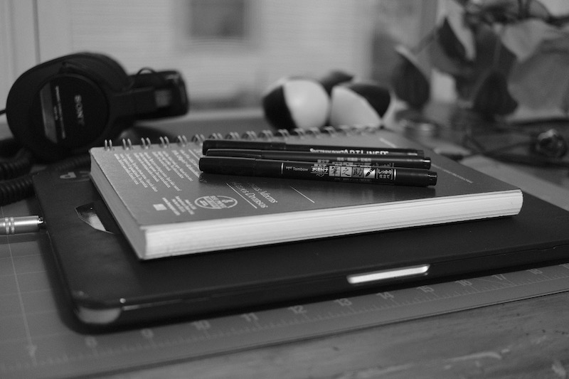 A photo of drawing tools on my desk
